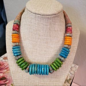 Vintage wood & thread colorful necklace